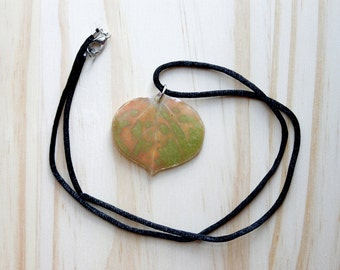 Plant Green Jewelry - Real Fall Green and Orange Aspen Leaf Necklace  - Boho Nature Necklace - Nature Resin Jewelry