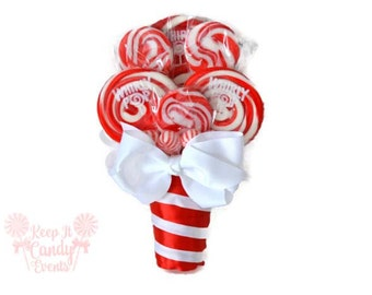 Small Red Lollipop Bouquet, Red Candy Bouquet, December Wedding, Christmas Wedding Ideas, Valentines Wedding Ideas, Valentines Bouquet