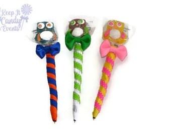 Owl Lollipop Pen, Owl Candy pen, Owl Party Favor, Owl Theme, Sweet 16 Party Favor, Quinceanera Ideas, Birthday, Sweet sixteen, edible favor