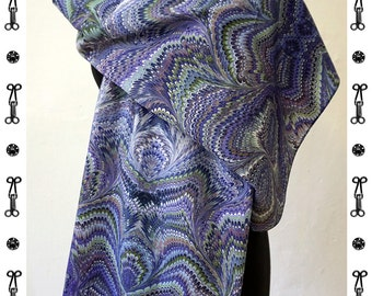 ART DÉCO SCARF Silk, Cotton, Art Nouveau, Scarves, Shawls, digital print, 1920s, 1930s, 1940, marbling scarves, art deco, wraps, blue, green