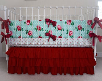 Lucy's Retro Mint Rose Ruffle Bumperless Baby Bedding | 3 Piece Crib Set | Mint, Chinese Red, Pink, White