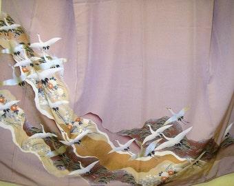 KIMONO CRANES Vintage Japanese Silk IroTomesode 3 Mon Kimono Art Kinsai Cranes Pale Mauve Pink Silk Japanese Kimono w Hyoku Cranes Wall Art