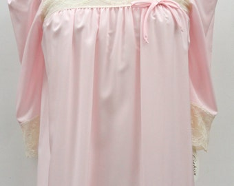 1950 1960 NWT Women's Nightgown, Vintage NOS Corhan Size Petite Sleepwear Pink Beige Lace , 50s 60s Mid Century Deadstock Nightgown Petite