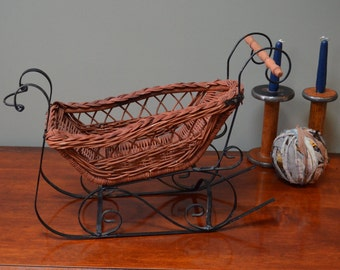 Wicker Sleigh Basket with Black Wrought Iron Runners Wicker Christmas Sleigh Basket French Country Rustic Farmhouse I Ship Internationally