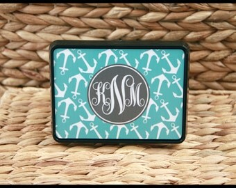 Nautical Anchors Trailer Hitch Cover, Personalized Monogram Hitch Cover, Cute Car Accessories For Women Monogrammed Car Decor Trailer Hitch