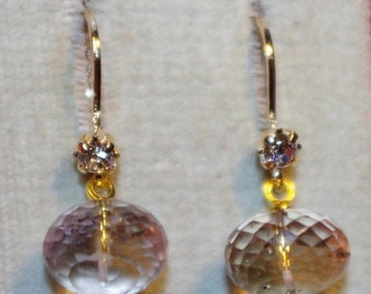 Gorgeous 14K Gold Filled Quality Mico Faceted Green Amethyst lever Back Earrings With CZ