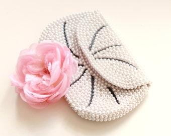 Vintage bridal clutch, Pearl beaded bag, Ivory bridal clutch, Vintage wedding purse, pearl beaded clutch, Pearl bridal evening bag