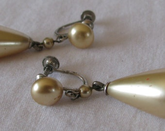 Vintage Large Teardrop Shaped Pearl Dangle Earrings, Screw Back Style