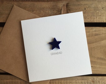 Grandad Card with Navy detachable Star magnet keepsake