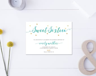 Sweet Sixteen // Invitation // Metallic Gold & Turquoise // DIY Printable File // Digital PDF File