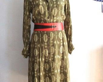 70s silk dress 1970s pleated shirt waist dress vtg silk tea dress pleated shirtwaist dress knee-length green silk chiffon shirt dress