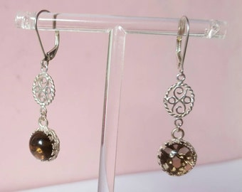 Beautiful long Silver earrings with large