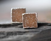Square Druzy Studs // Copper Colored Silver Earrings // Recycled