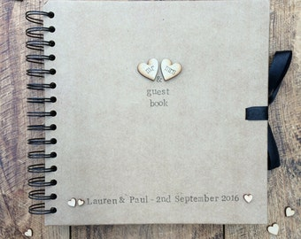 NEW Wedding guest book, personalised guest book, rustic wedding, wedding guest book
