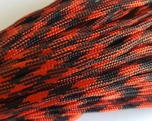10 feet - 550 Paracord - Red and Black Pattern