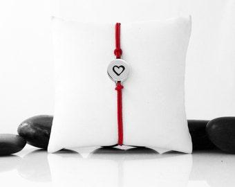 Love Bracelet, Friendship Bracelet, Silver Heart, Heart, Heart Bracelet, Heart Jewelry, Gift For Her, Silver Heart Jewelry, b246cWB
