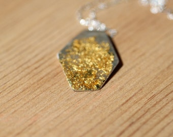 24k Gold Leaf Abstract Necklace
