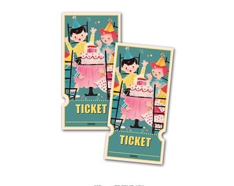 Digital Vintage Birthday Raffle Tickets with retro boys and girls / instant download / for party games, raffles, admission tickets