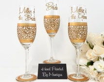 Gold Mother of the Bride and Groom and Bride Wedding Glasses Gifts and ...