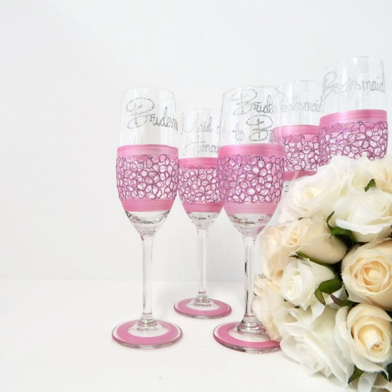 Pastel Pink Wedding Champagne Toasting Flute By