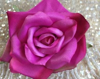 Darling Dusty Fushia rose flower hair clip, vintage inspired, bridal, wedding, bridesmaids, pinup, rockabilly, burlesque, retro