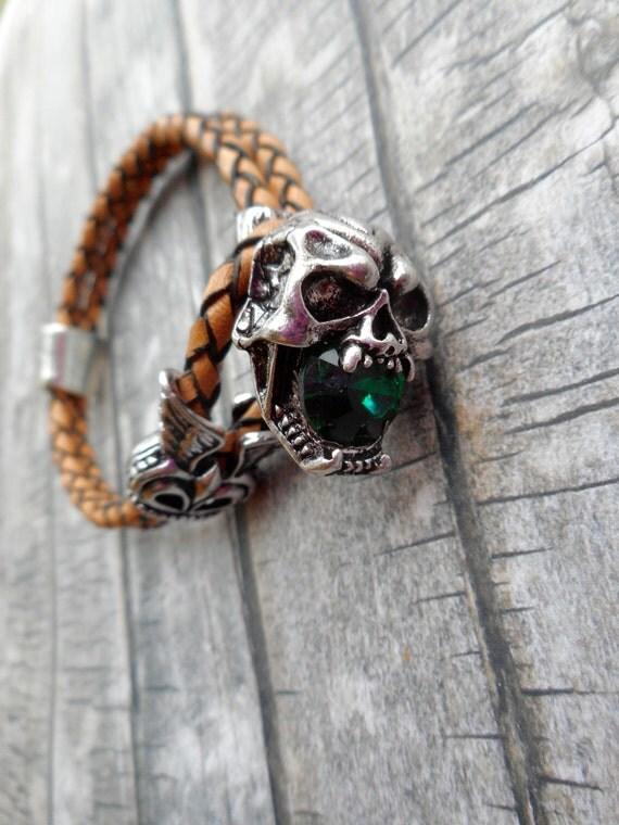 Death skull leren armbanden
