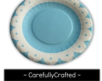 Set of 8 Paper Plates - Blue - Flower