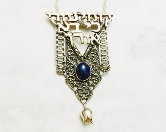 Messianic Pendant. 'Arise Shine'. Messianic in Handmade. Sterling Silver Necklace. Religious For Her. Blue Lapis Lazuli. FREE SHIPPING!