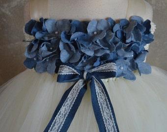 Denim hydrangea flower girl tutu dress