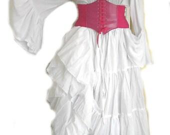 RENAISSANC CORSET  Underbust Waist Cincher Pirate Steampunk Costume Medieval Pink 8 Colors