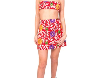 Womens/Ladies New Designer Clothes, Red Embroidered Floral Sequin, Matching Bandeau Top & Mini Skirt Set