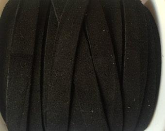 """Per 8"""" Black Suede, 10mm Flat Cord,"""