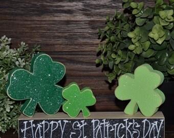 Happy St. Patrick's Day Block Set Shamrock Four Leaf Clover Set Irish Home Decor Celtic Decorations Shamrock Block Set Irish Wedding Decor