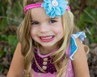 Sister Love Headband, Blue Flower Headband, Big Sister Headband, Little Sister Headband, I Love My Sister, Blue Pink Headband, Turquoise