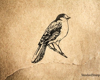 Blue Bird Rubber Stamp - 2 x 2 inches