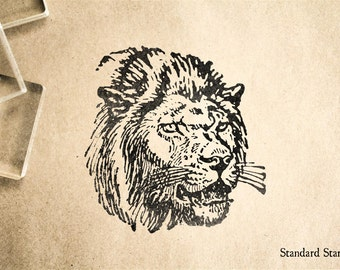 Lion Rubber Stamp - 2 x 2 inches