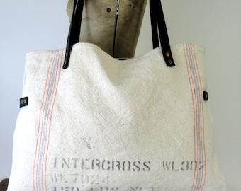 VINTAGE GRAIN SACK Tote Bag Purse Repurposed Grainsack