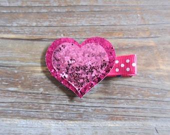 Valentine's Day Glitter Heart Hair Clip
