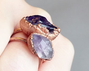 Raw Amethyst Ring | Raw Stone Ring | Raw Crystal Ring | Electroformed Copper Ring | Bohemian Ring | February Birthstone Ring |Gift for Women
