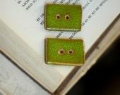 Ceramic Buttons - Set Of  Two Ceramic Rectangular Green Buttons- Art Ceramic Buttons - Handmade Buttons - OOAK Buttons