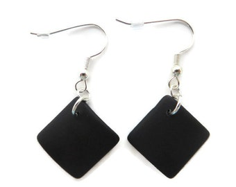 Black Sea Glass Earrings, Black Earring, Black Beach Glass Earring, Black Dangle, Black Drop,  Recycled Glass Earring, Black Diamond Earring