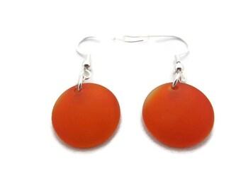 Bright Orange Earrings, Orange Beach Glass Earrings, Orange Sea Glass Earring, Tangerine Earring, Orange Dangle Earring, Orange Drop Earring