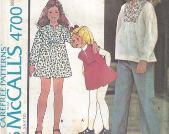 1975 Girls' Dress, Jumper, Top, and Pants Pattern, McCalls 4700, Size 7