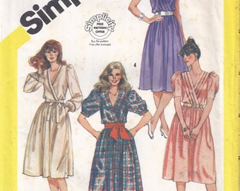 1983 Simplicity 5989 Misses' Pullover Dresses with Surplice Bodice Pattern, Size 10