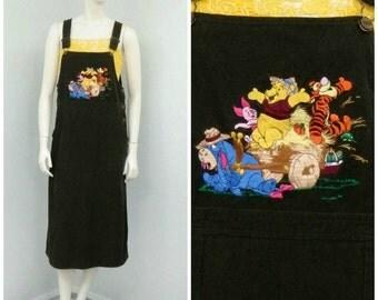 Vintage 90s Disney Winnie The Pooh Brown Corduroy Jumper Dress, Skirt Overalls, Overall Skirt, Overall Jumper, Overall Dress,  Skirtalls