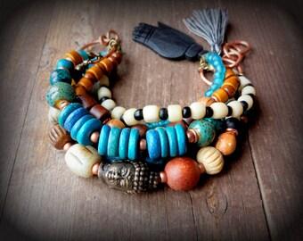 bronze buddha bracelet, yoga mala bracelet, boho rustic bracelet, earthy brown and turquoise, ethnic beads, zen nomad wanderlust jewelry
