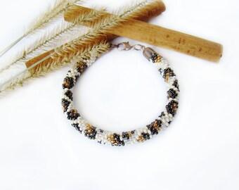 Leopard bracelet Bead crochet bracelet Ethnic bracelet Animal skin African savannah Wild print  Beige brown beadwork Crochet bead bracelet