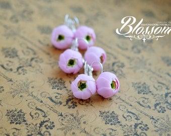 Pink ranunculus earrings, Light pink flowers, gift for girl, fimo flower, Handmade floral earrings, Ready