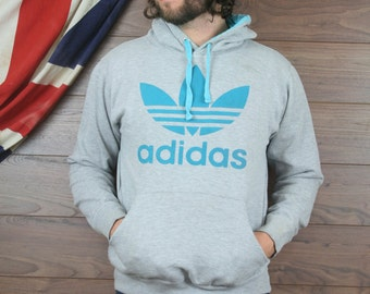 vintage adidas hooded sweatshirt , grey , small (5)