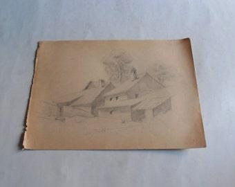 vintage original pencil drawing rural house